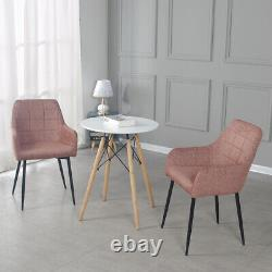 3 Pieces Set 60cm Small Round Dining Table and 2 Pink Chairs Set Home Office