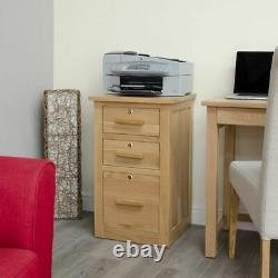 Arden Solid Oak Home Office Furniture Small PC Desk And Filing Cabinet Package