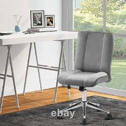 Armless Office Chair Velvet Ergonomic Computer Task Desk Chair Without Arms Home