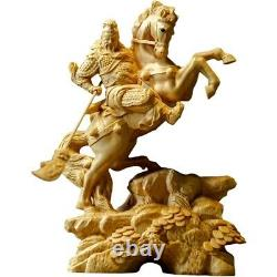 Boxwood carved horse warrior statue at home, on tha office desk or as a gift