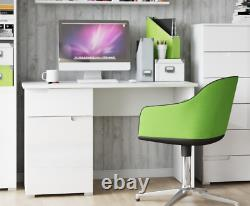 Cellini Small White High Gloss Computer Study Desk Home Office Workstation S14