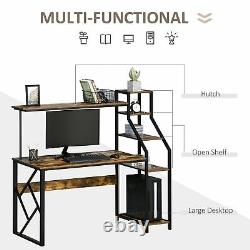Computer Desk with Shelves Home Office Study Table for Small Space Rustic Brown