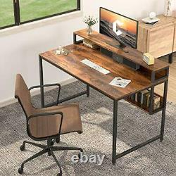 Computer Home Office Desk Small Desk Table with Storage Shelf 47 Dark Rustic