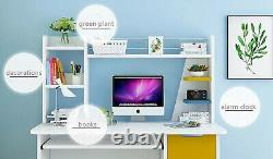 Corner Computer Desk PC Laptop Study Table Gaming Home Office W Shelves Small UK