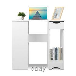 Corner H Shaped PC Computer Desk Gaming Writting Table With Bookshelf Home Office