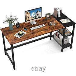 CubiCubi Computer Home Office Desk 55 Inch Small Desk Study Writing Table wit