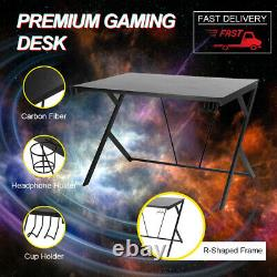 Ergonomic Steel Gaming Desk with Cup Holder Headphone Hook Home Office PC Table