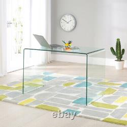 Geo-Glass Small Clear Glass Desk Modern Curved Home Office Laptop Table GG91