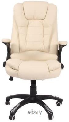 Leather high back reclining office / desk chair with massage and heat Cream