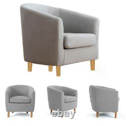 Linen Fabric Small Sofa Armchair Tub Bucket Chair Padded Home Office Lounge Seat