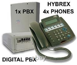 NEW HOME SMALL OFFICE TELEPHONE SYSTEM SWITCHBOARD PBX 408 4x DESK PHONES HYBREX