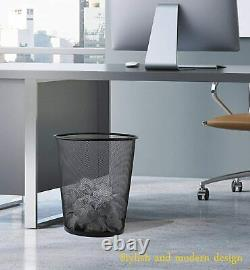 Open Top Round Mesh Waste Basket Bin Trash Can for Office Home (2 Pack)