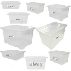 Quality Plastic Storage Boxes Clear Box With Clear Lids Home Office Stackable UK