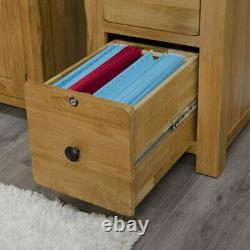 Rustic solid oak home office furniture small lockable filing cabinet