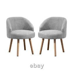 Set of 2 Small Accent Chairs Armchairs Padded Seat Home Living Room Office Grey
