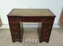 Small Antique Style Mahogany Desk Leather Top Twin Pedestal Home Office Writing