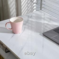 Small Computer Desk with Hairpin Legs / Marble Writing Home Office Desk Table