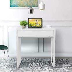 Small White Computer Desk Laptop Table 1 Drawer Workstation Home Office Study