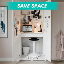 Small White Computer Desk with Drawer Laptop PC Table Home Office Workstation
