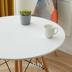 Small White Round Dining Table and 2 Patchwork Chairs Home Office Cafe