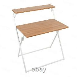 Small Wood Folding Table and Chair Set Computer Desk Home Office Workstation