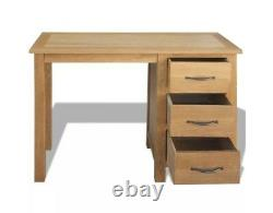 Small Wooden Desk Home Office Computer Study Pc Laptop Furniture 3 Drawers Oak