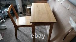 Solid Oak Hard Wood Small Home Office Desk and Chair