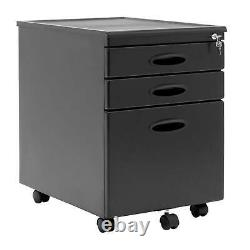Studio Designs Mobile Home Office 3 Drawer Small File Storage Cabinet, Gray