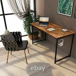 Study Computer Desk 47 Home Office Writing Small Desk, Modern 47 inch Brown