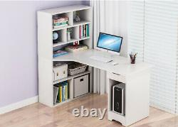 White Computer Desk Writing Corner PC Table Laptop Home Office Workstation Small