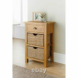 Wiltshire Oak Small Console Table With Sea Grass Baskets Home Office Furniture