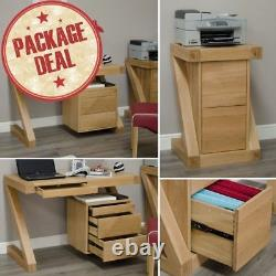 Z Solid Oak Home Office Furniture Small Desk And Filing Cabinet Package